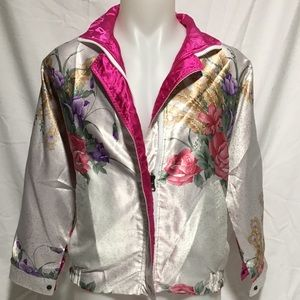 Reversible Silk Floral Bomber Jacket